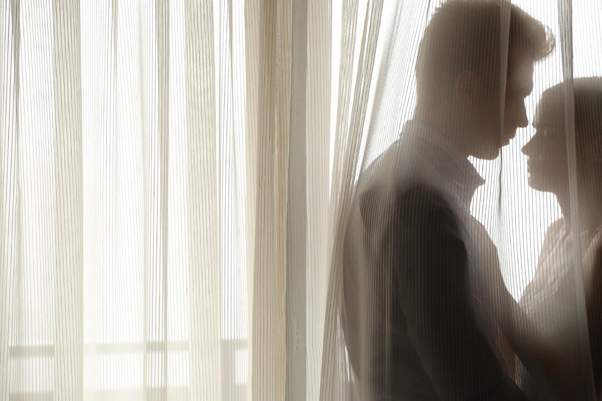 homem, marido, beijo, abraço, esconder, amor, às cegas, noiva, casamento, mulher