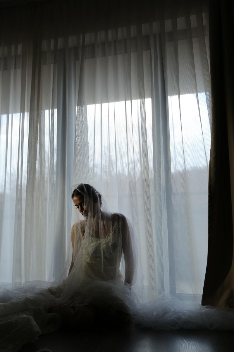 wedding dress, veil, shoulder, hotel, pretty girl, posing, elegance, young woman, covering, bride