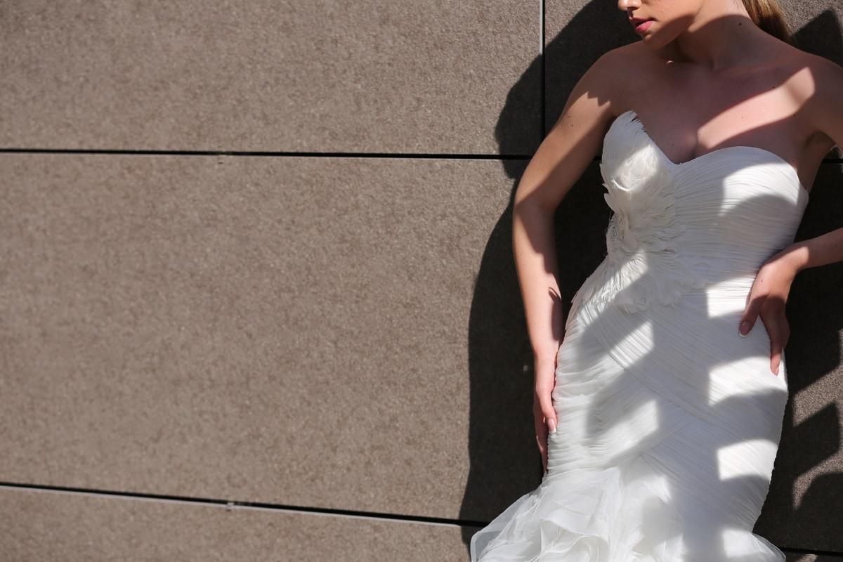 posiert, Kleid, Mode, Feder, Stil, herrlich, Hochzeit, Braut, Porträt, Liebe