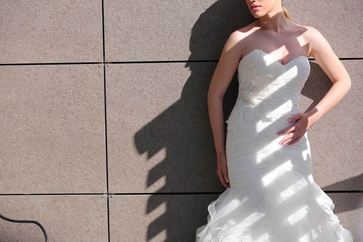 wedding dress, posing, shadow, sunny, woman, dress, bride, wedding, girl, portrait