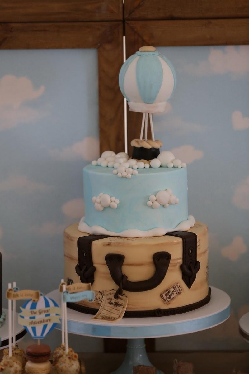 heiße Luft, Ballon, Geburtstagskuchen, Geburtstag, Kuchen, Backen, Kunst, Schokolade, Retro, Gebäck