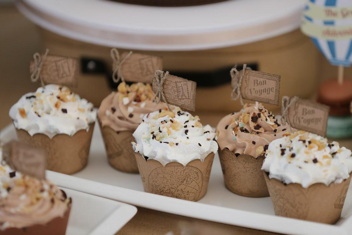 Cupcake, hellbraun, Jahrgang, Snack, Kuchen, Schokolade, Gebäck, Konditorei, Dessert, süß