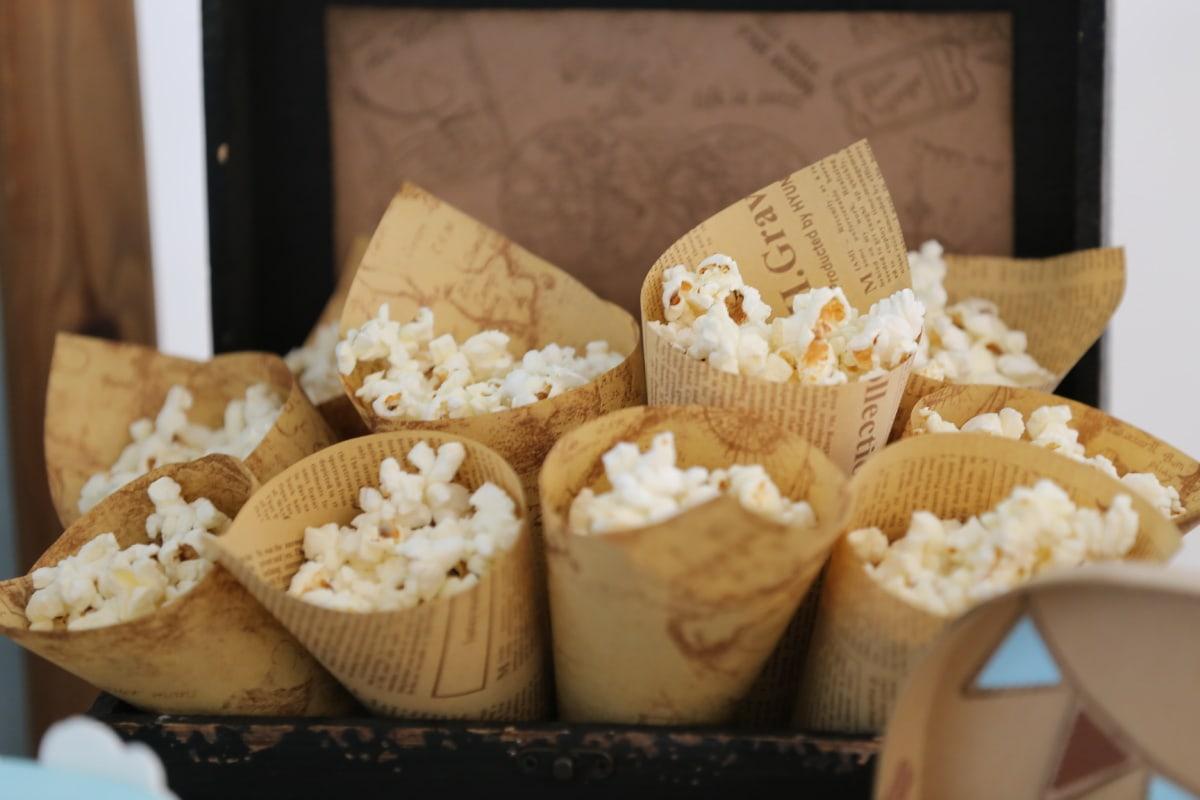 Popcorn, Ware, Jahrgang, Snack, Essen, hausgemachte, Holz, sehr lecker, Frühstück, traditionelle