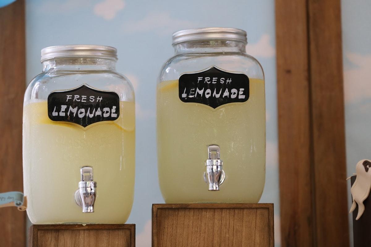 свежий, Лимонад, напиток, марочный, продукта, товары, ингредиенты, Мёд, дерево, контейнер
