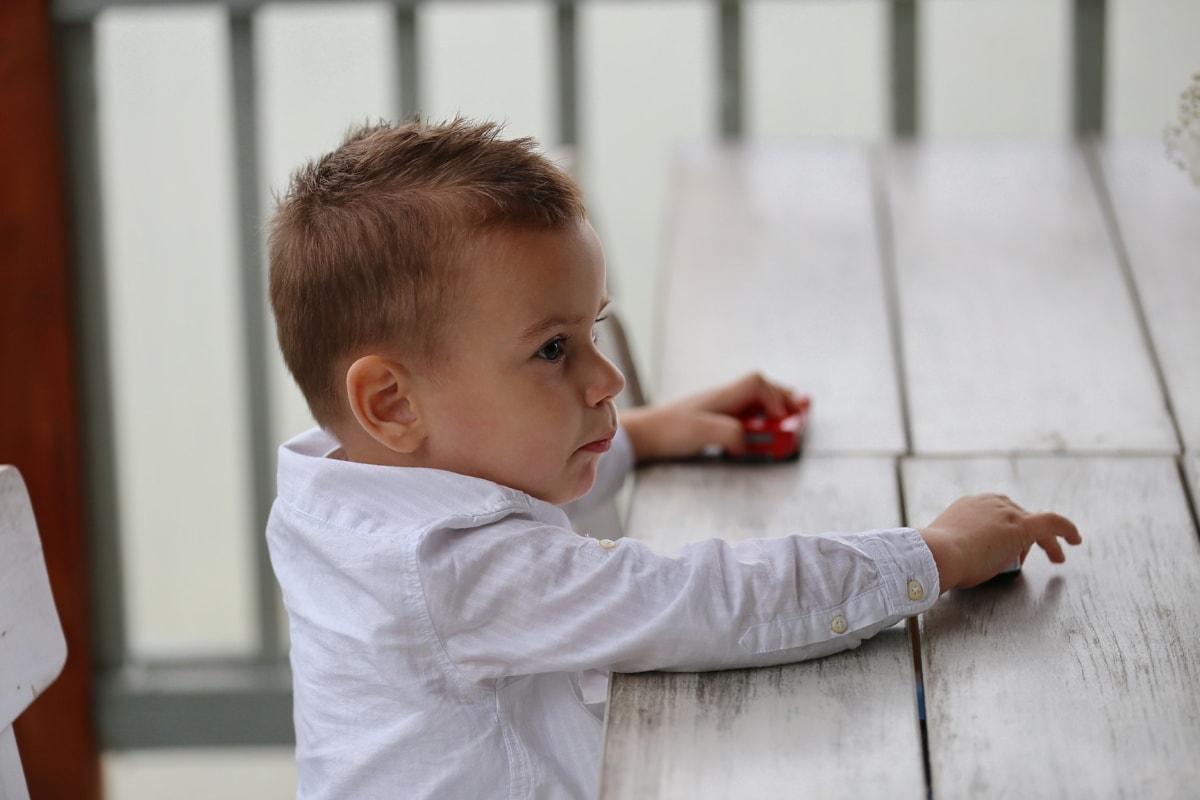 jeune homme, fils, enfant, garçon, petite enfance, à l'intérieur, école élémentaire, mignon, à la recherche, asseoir