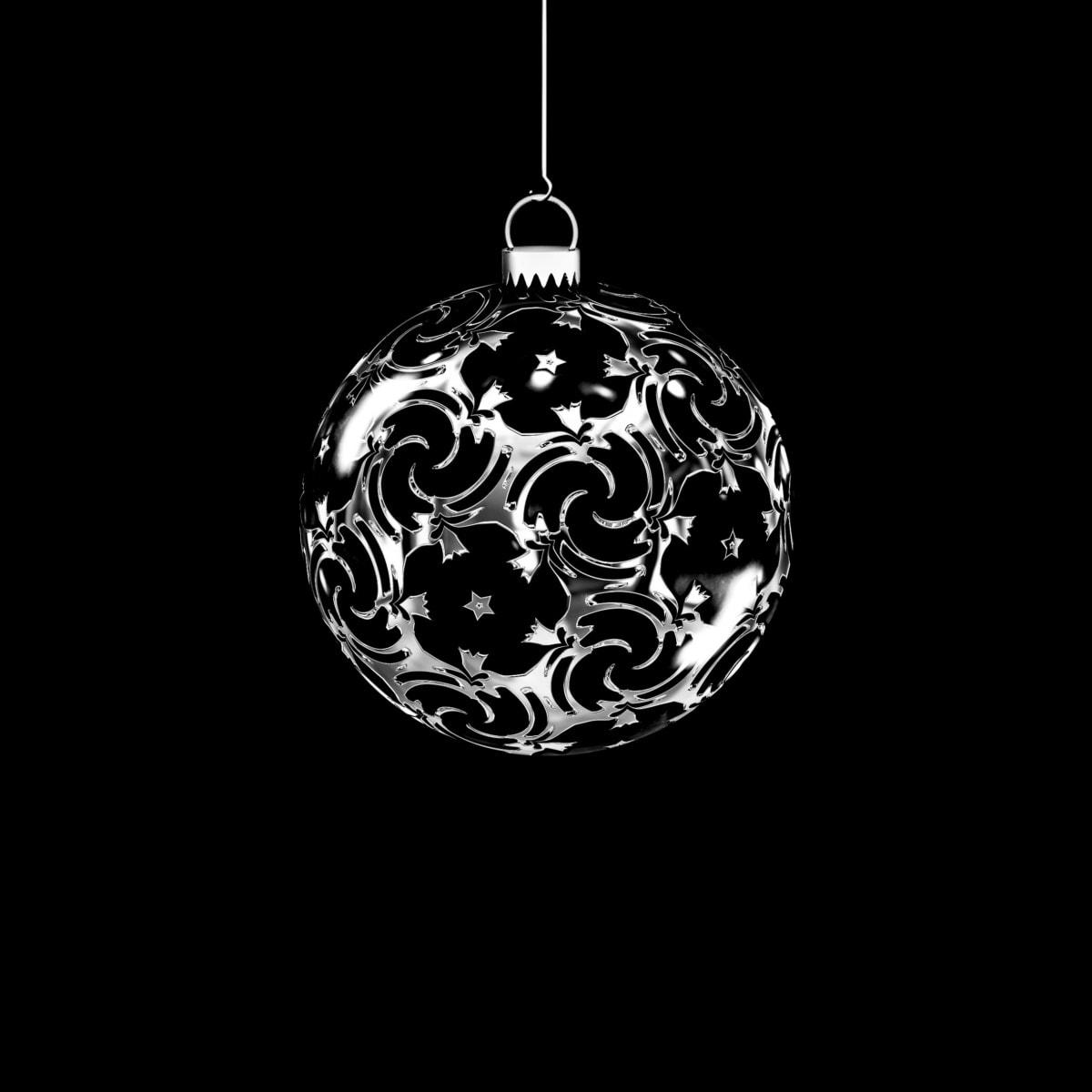 metaliczne, czarno-białe, dekoracja, Boże Narodzenie, ornament, fantazja, wiszące, Kula, Biżuteria, okrągłe
