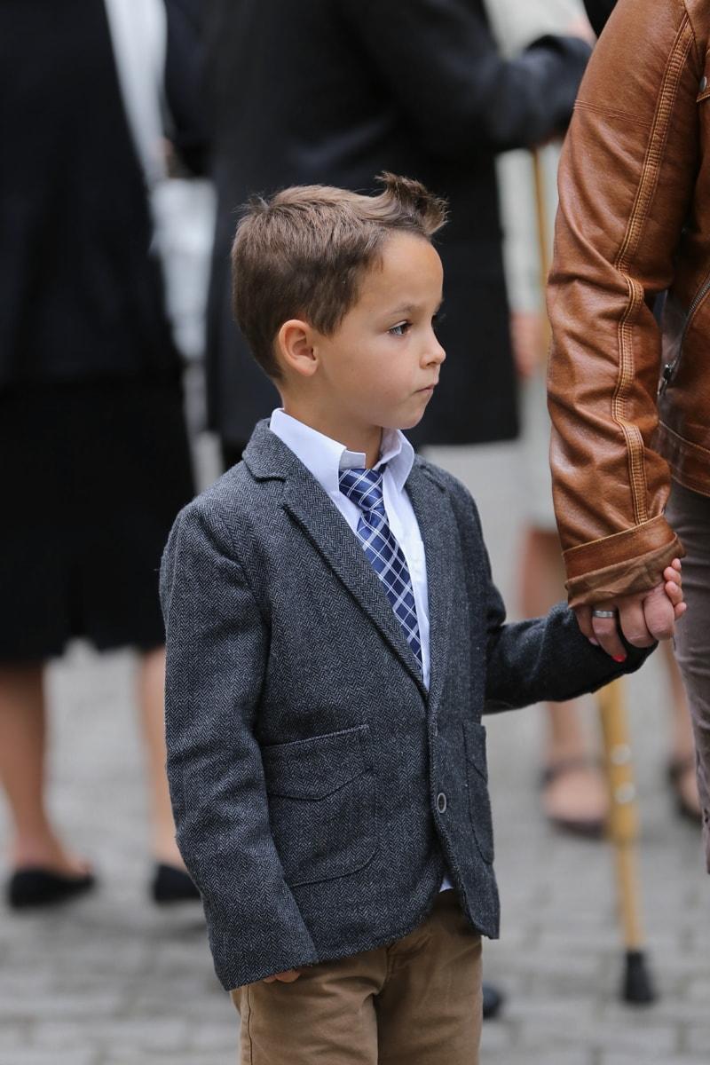 slips, kostym, unge, outfit, porträtt, bedårande, frisyr, Pojke, barn, mode