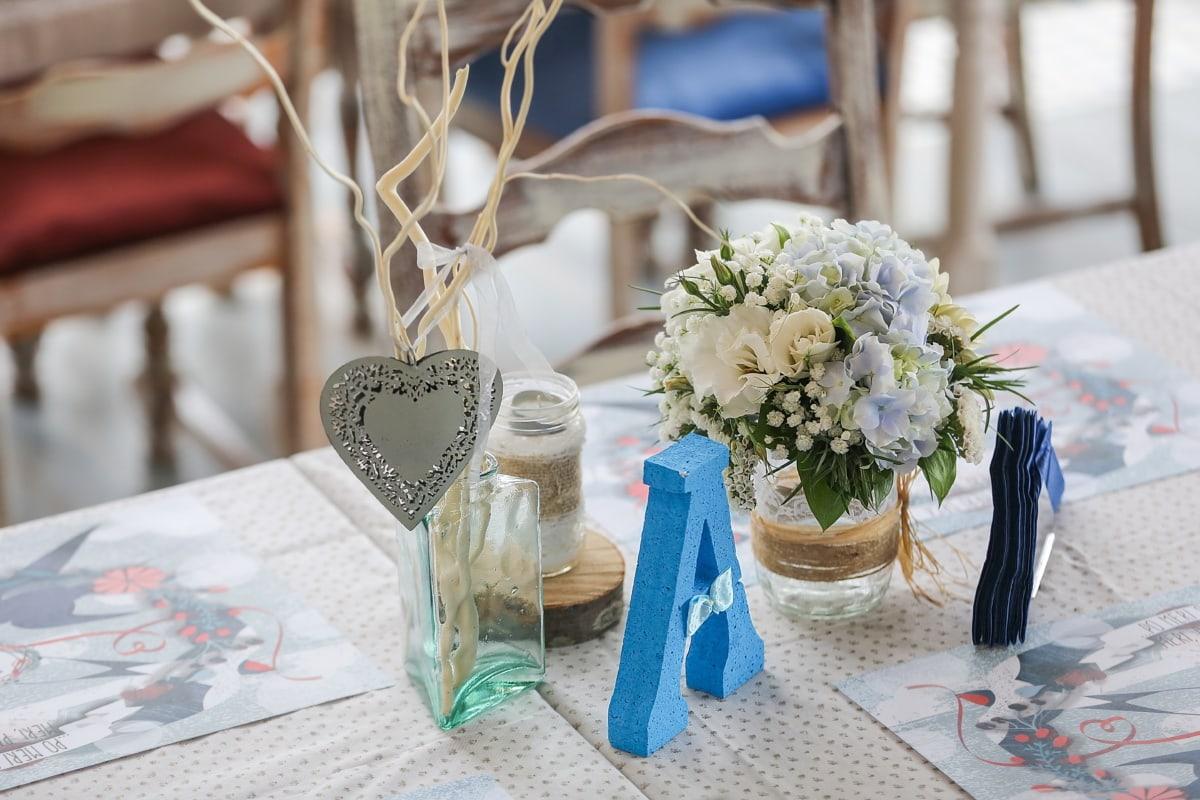 Empfang, Tabelle, Vase, Glas, Innendekoration, elegant, romantische, Blumenstrauß, Blumen, Dekoration