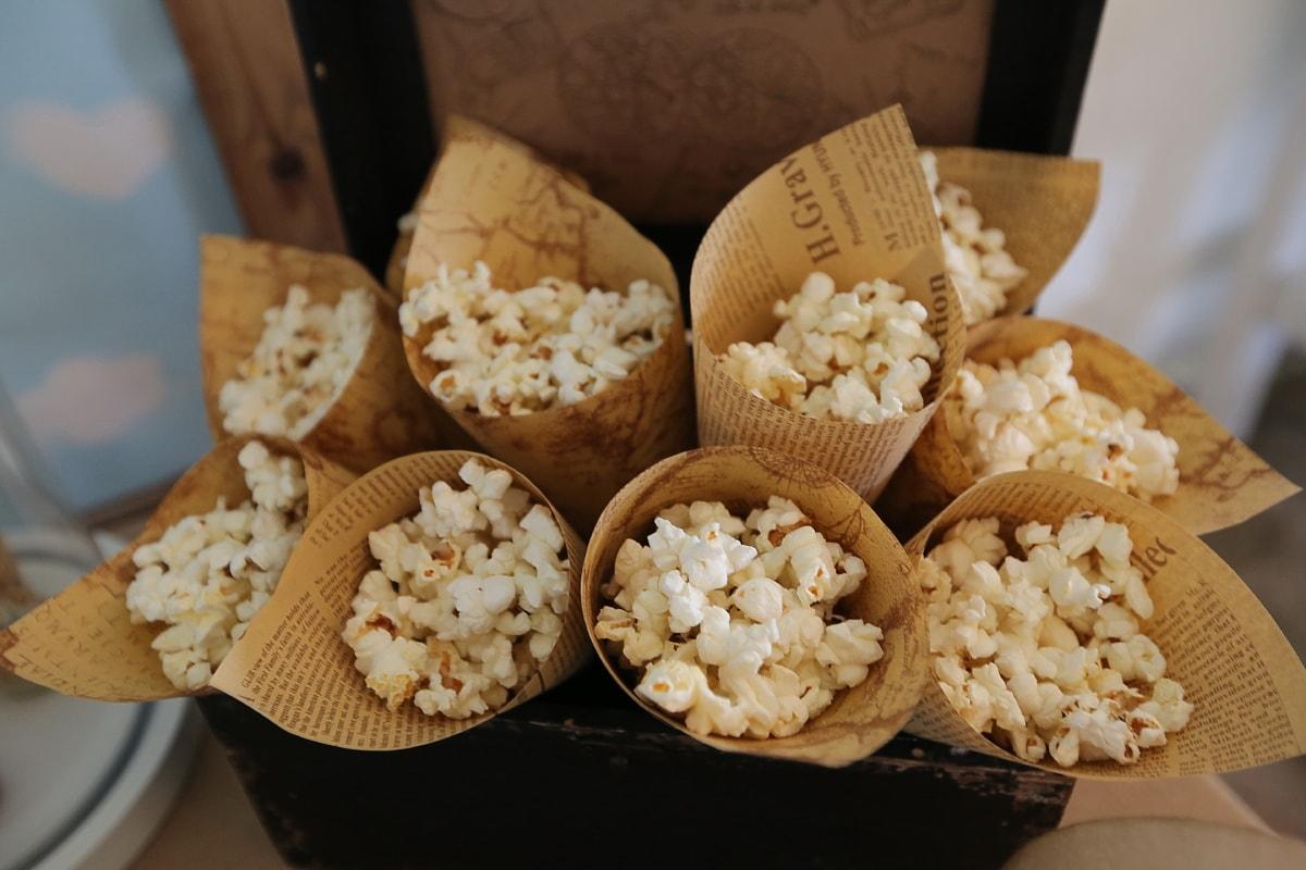 Roll, Popcorn, Jahrgang, Papier, Zeitung, Mahlzeit, Mais, Platte, Essen, Zutaten
