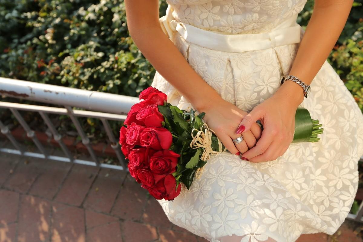 bride, red, roses, bouquet, wedding dress, wedding, woman, love, engagement, flower
