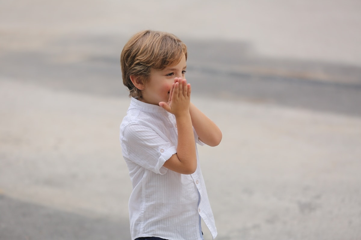 boy, adorable, playful, hands, blonde hair, face, child, fun, vacation, leisure