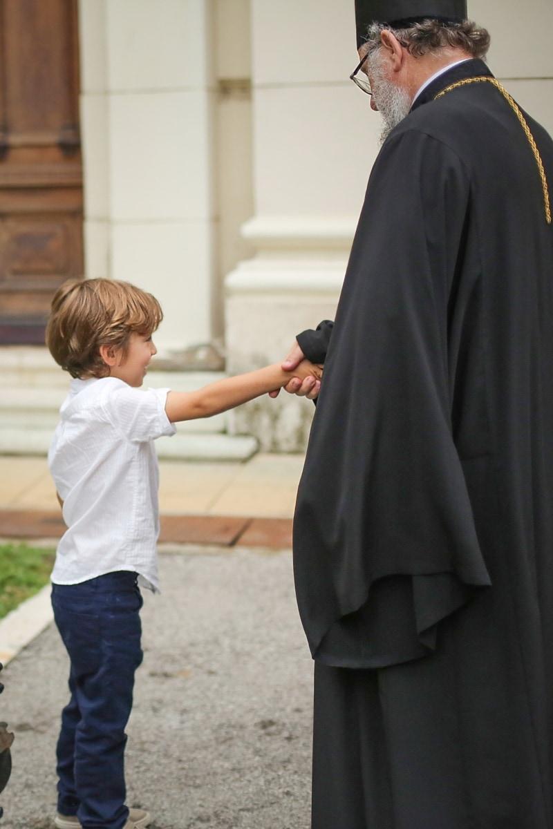 garçons, prêtre, réunion, mains, Outfit, Monastère de, vêtements, gens, personne, homme