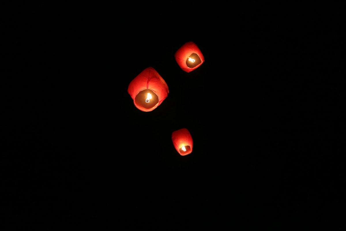 hot air, lantern, candles, flying, fire, candlelight, night, darkness, light, dark