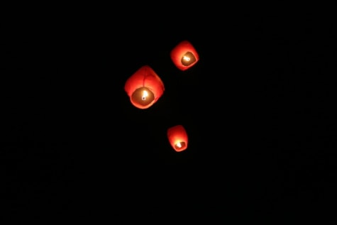 hot air, lantern, candles, flying, fire, candlelight, night, darkness, light, dark