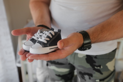sneakers, baby, footwear, shoe, man, indoors, people, detail, hand, hands