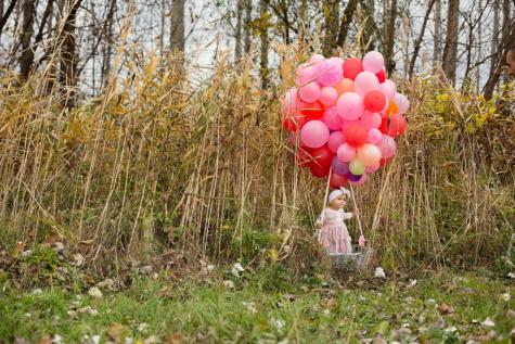 宝贝, 气球, 学步, 柳条筐, 可爱, 年轻, 灌木, 草, 树, 夏天