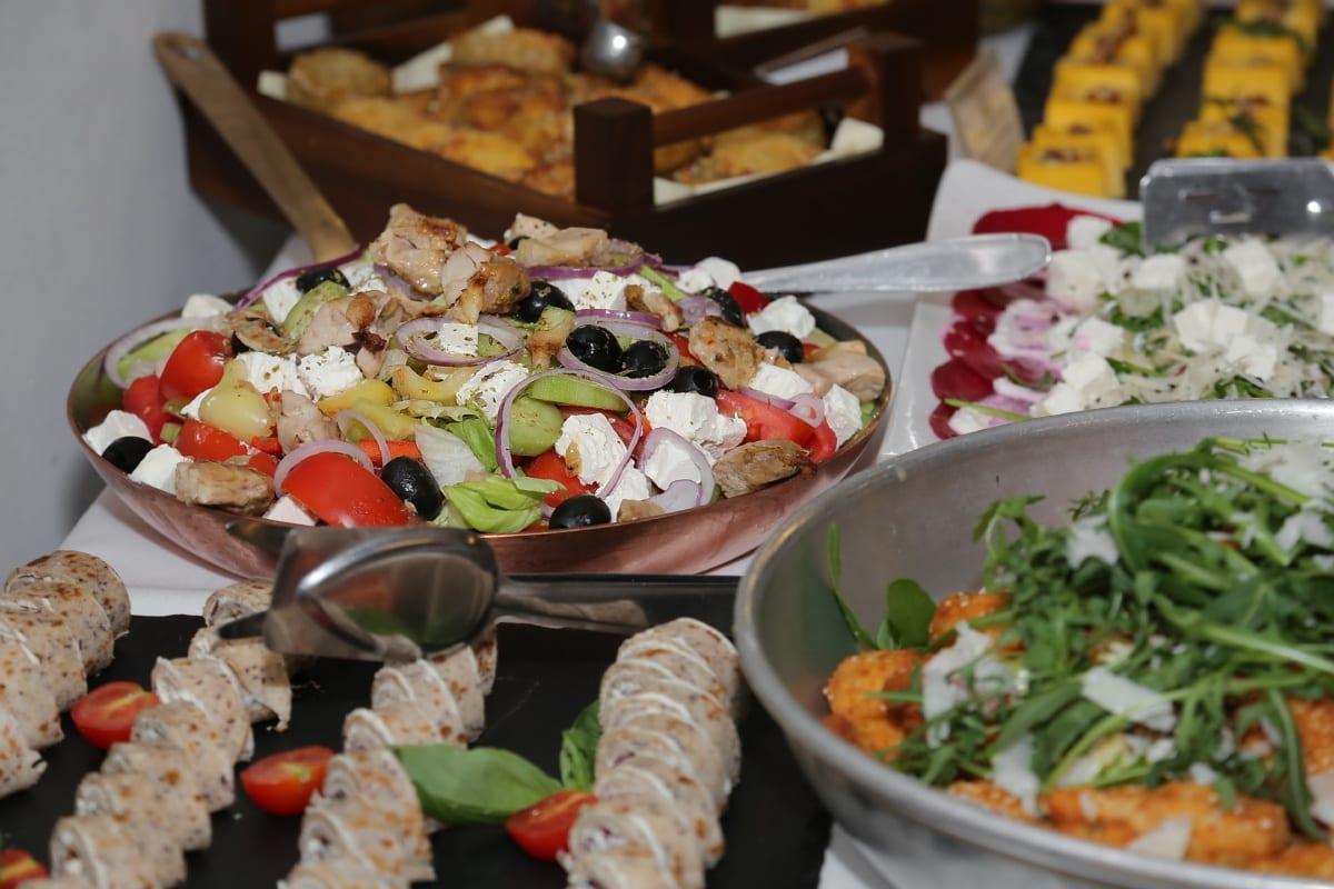 salata, apetit, švedski stol, salata, predjelo, restoran, večera, ručak, jelo, ploča