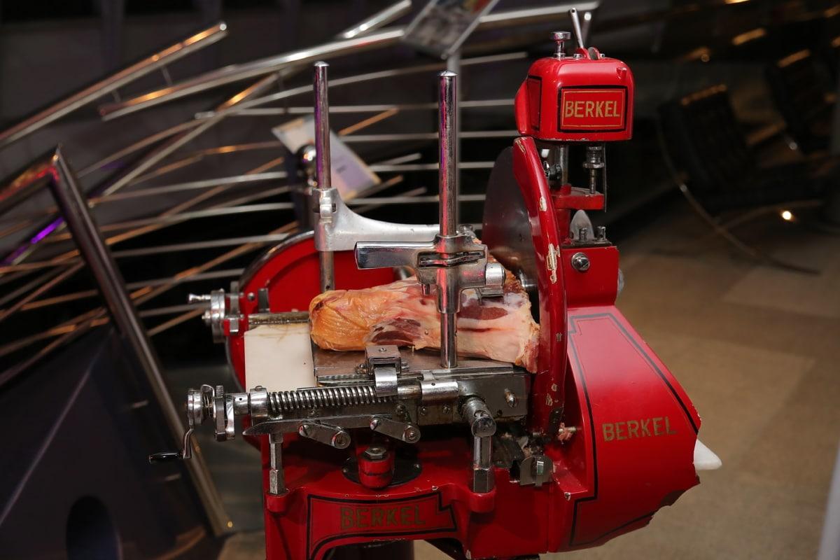 Cutter, Maschine, Schneiden, rohes Fleisch, Fleisch, Gerät, Branche, drinnen, Produktion, Stahl