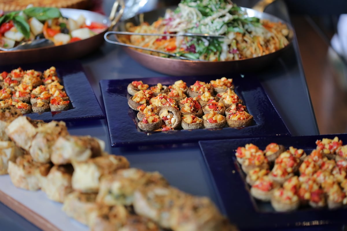 predjelo, švedski stol, mini, jelo, večera, ručak, povrće, hrana, restoran, obrok