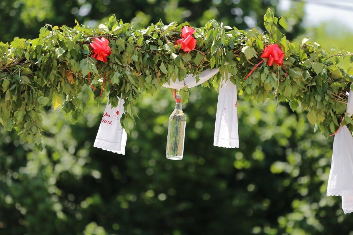 Dekoration, Flasche, hängende, Anlage, Strauch, Blume, Blatt, Garten, Saison, Ast