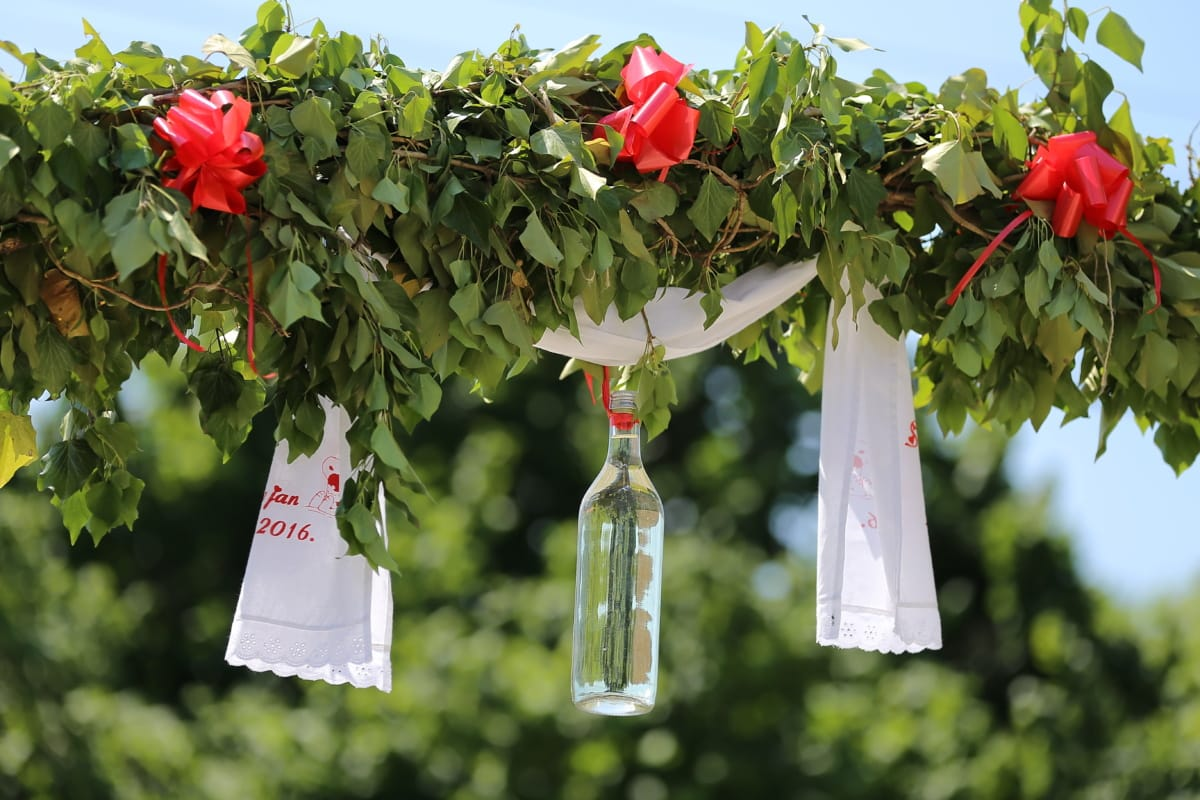 Dekoration, Hochzeit, Tradition, handgefertigte, Handtuch, Trinken, Flasche, Blatt, hängende, Anlage