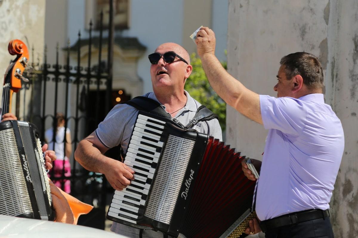 celebração, folclórica, músico, música, dinheiro, instrumento, festival, banda, desempenho, homem