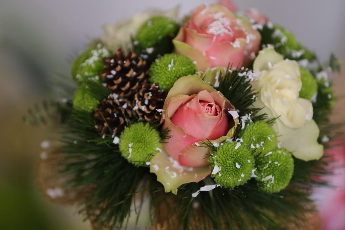 des roses, pastel, arrangement, conifères, bouquet, décoration, fleur, feuille, nature morte, brouiller