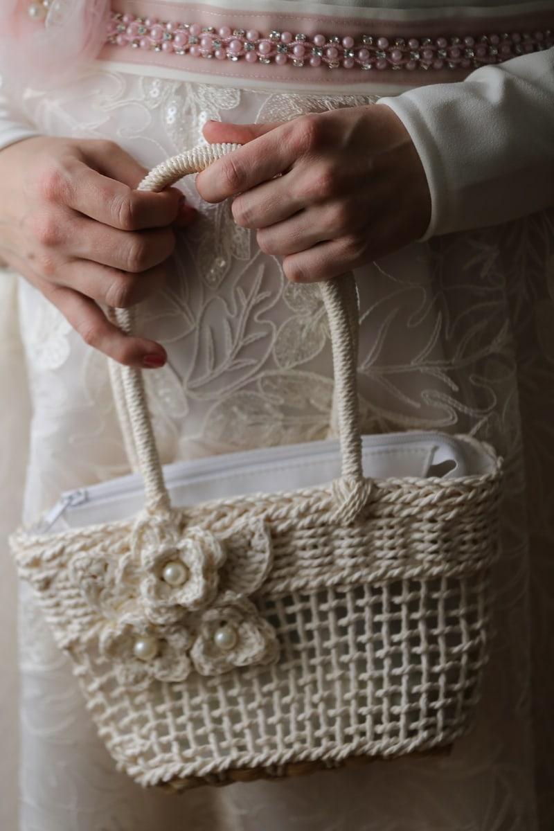 handbag, accessory, dress, hands, container, woman, skin, hand, fashion, luxury