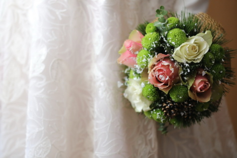 elegância, pastel, buquê, vestido de casamento, noiva, arranjo, decoração, casamento, rosa, flor