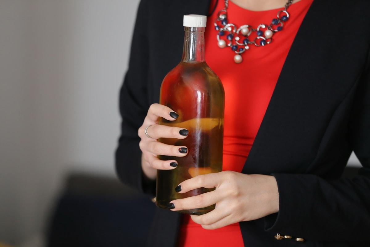 şişe, içki, alkol, eller, iş kadını, kadın, içecek, cam, insanlar, kapalı