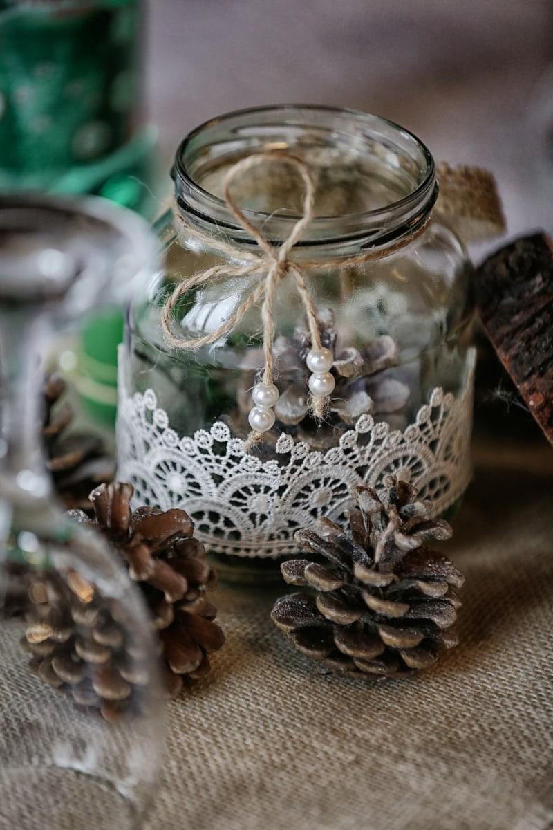 fait main, décoration, verre, pot, perle, bois, traditionnel, nature morte, table, en bois