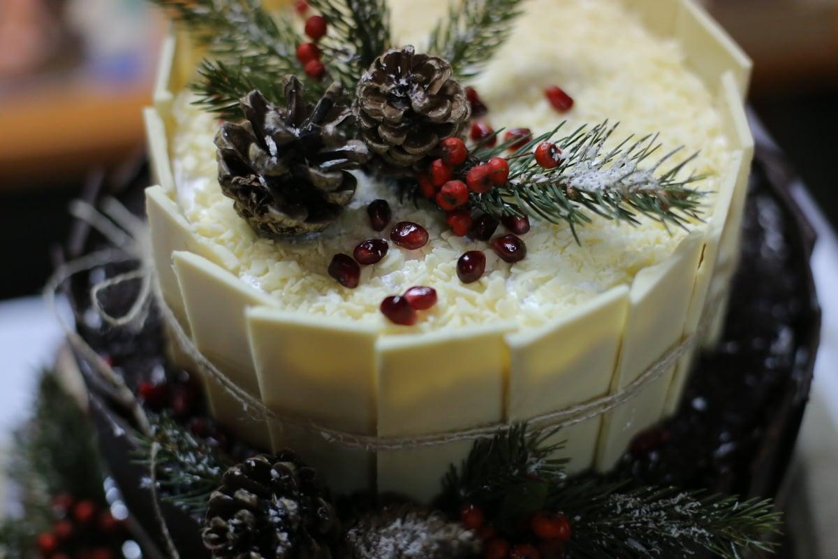 période de vacances, gâteau, Noël, alimentaire, doux, fruits, dessert, décoration, célébration, sucre