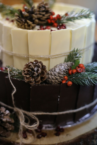 chocolate cake, decorative, conifers, cake, chocolate, sugar, christmas, cream, delicious, sweet
