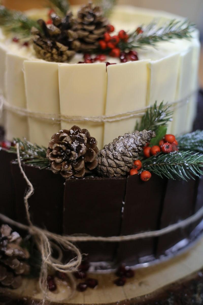 chocolate cake, decorative, conifers, cake, chocolate, sugar, christmas, cream, delicious, sweet