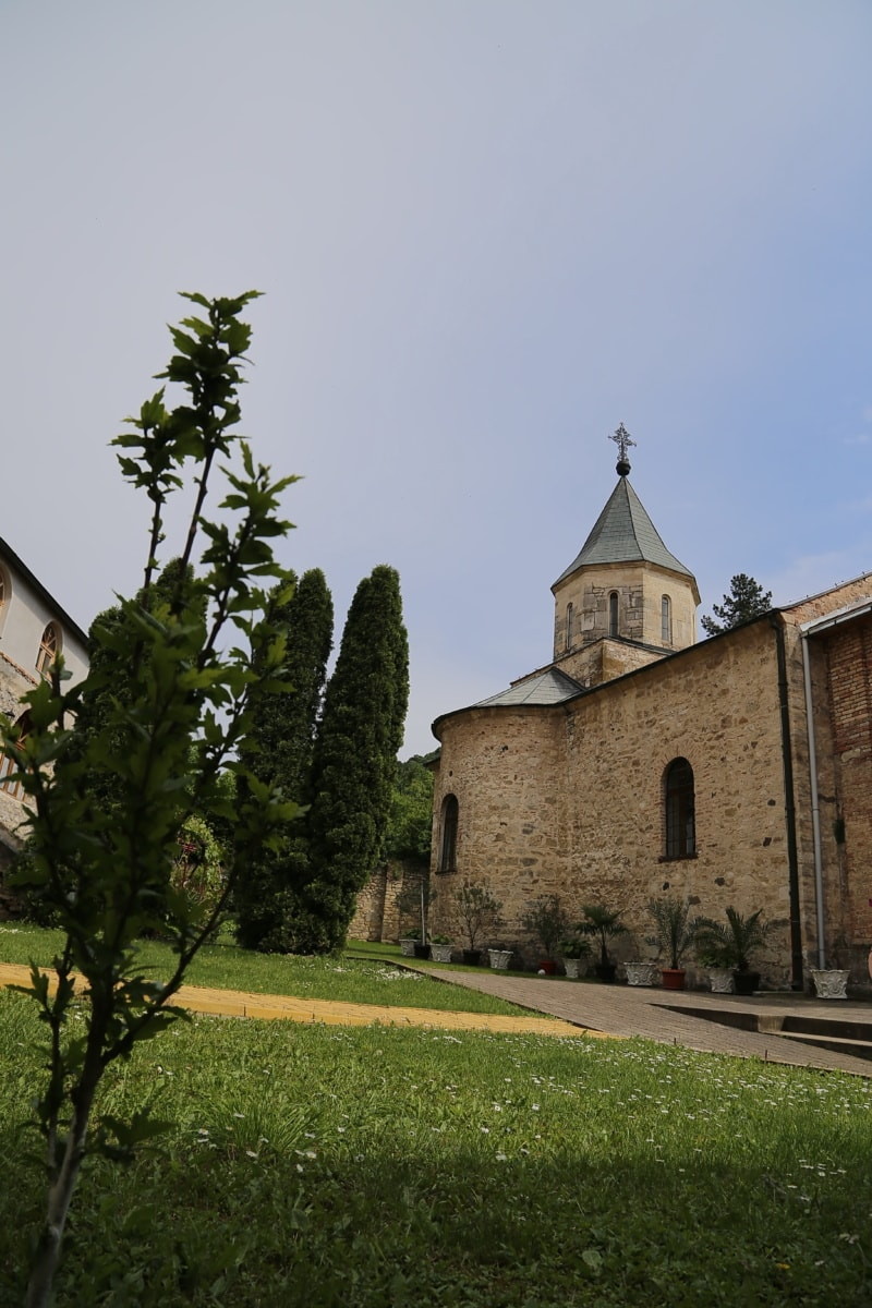 mittelalterliche, Kloster, Hinterhof, Kirchturm, orthodoxe, Kirche, Schloss, Architektur, Erstellen von, Religion