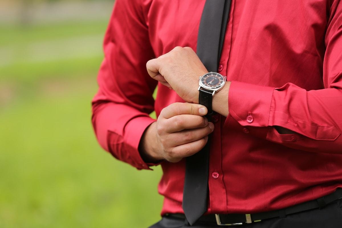 red, businessman, silk, shirt, elegance, wristwatch, tie, black, person, man