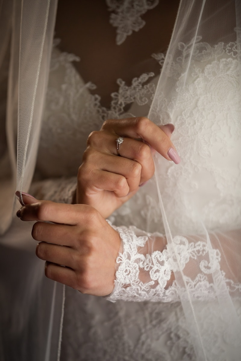 wedding ring, diamond, wedding dress, dress, veil, hands, bride, marriage, groom, wedding