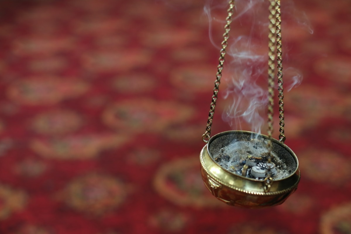 religieux, fumée, objet, spiritualité, cendre, chaîne, suspendu, brillante, fait main, lueur dorée