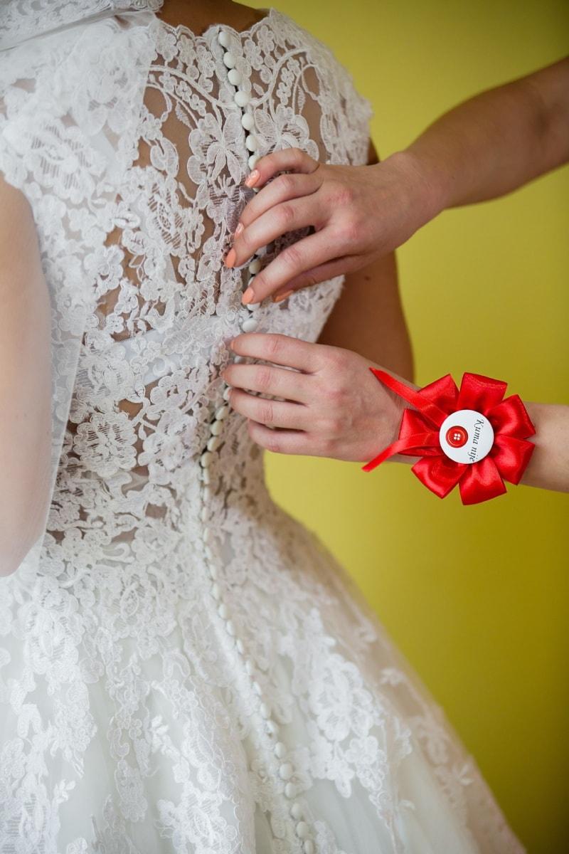 svatební šaty, šaty, svatba, závoj, přístup, odznak, suvenýry, nevěsta, Žena, děvče