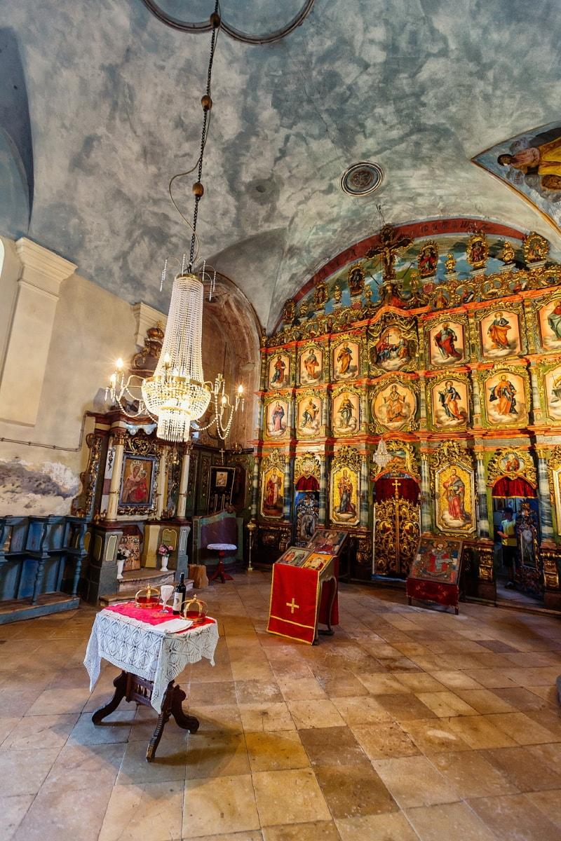 kirke, ortodokse, innsiden, alteret, arkitektoniske stil, kunst, Bysantinsk, taket, lysekrone, kristendom