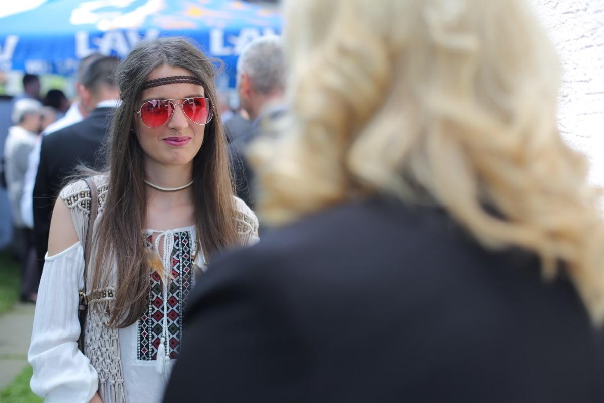 woman, portrait, sunglasses, girl, fashion, people, street, city, festival, eyewear