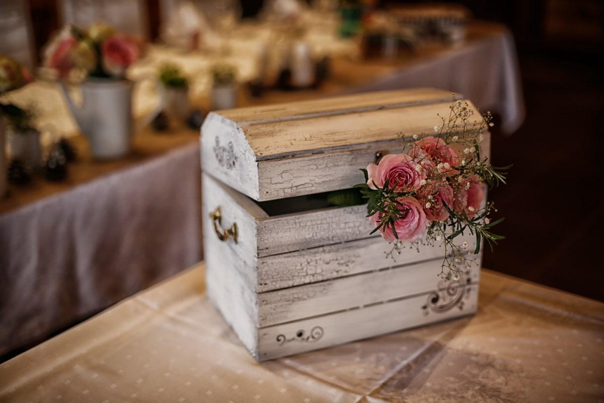 vieux, en bois, boîte de, amour, romantique, des roses, poitrine, Design d'intérieur, à l'intérieur, conteneur