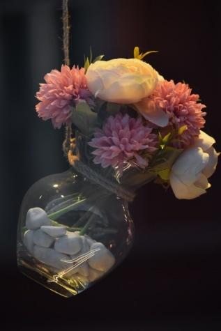 estúdio de fotografia, vaso, buquê, de suspensão, Escuro, luzes, flor, decoração, arranjo, flores