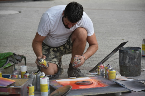 art, street, artist, painter, pavement, painting, paint, man, tool, people