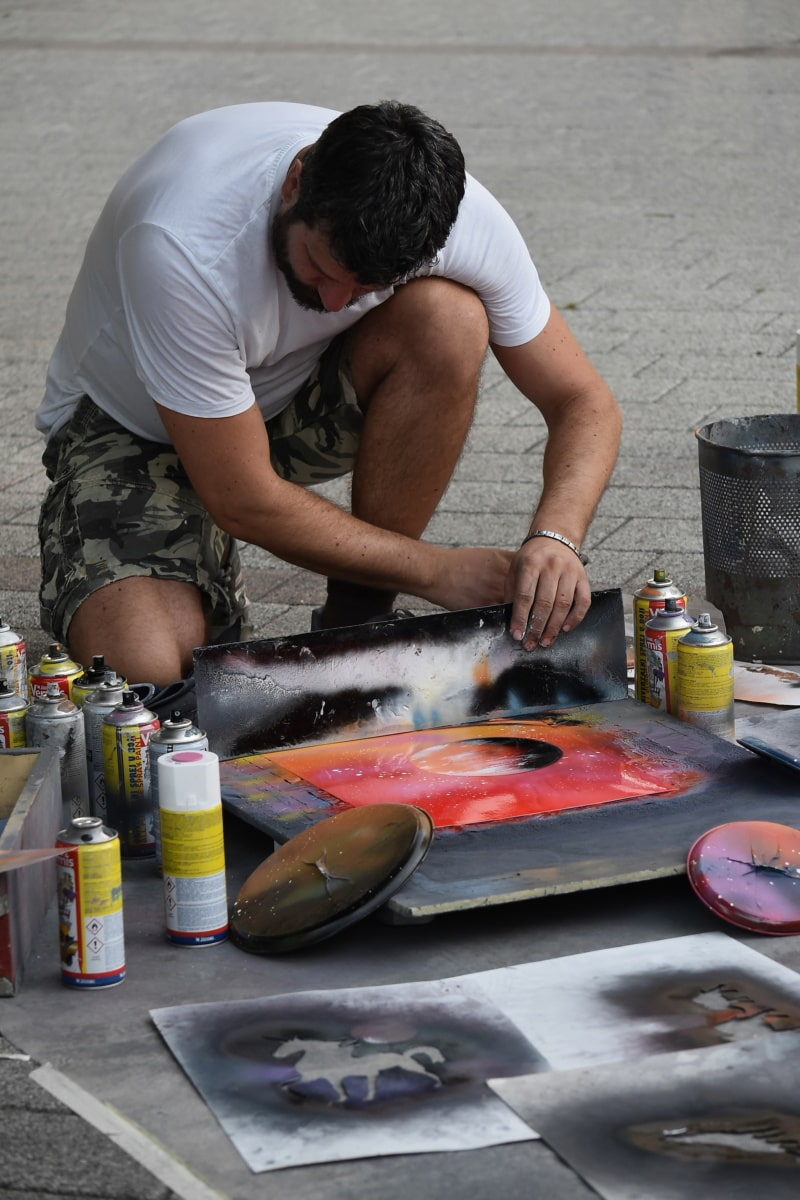 artist, street, artistic, man, painting, painter, people, person, hand, work