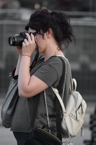 fotograaf, backpacker, rugzak, camera, vrouw, portret, lens, mode, Straat, meisje