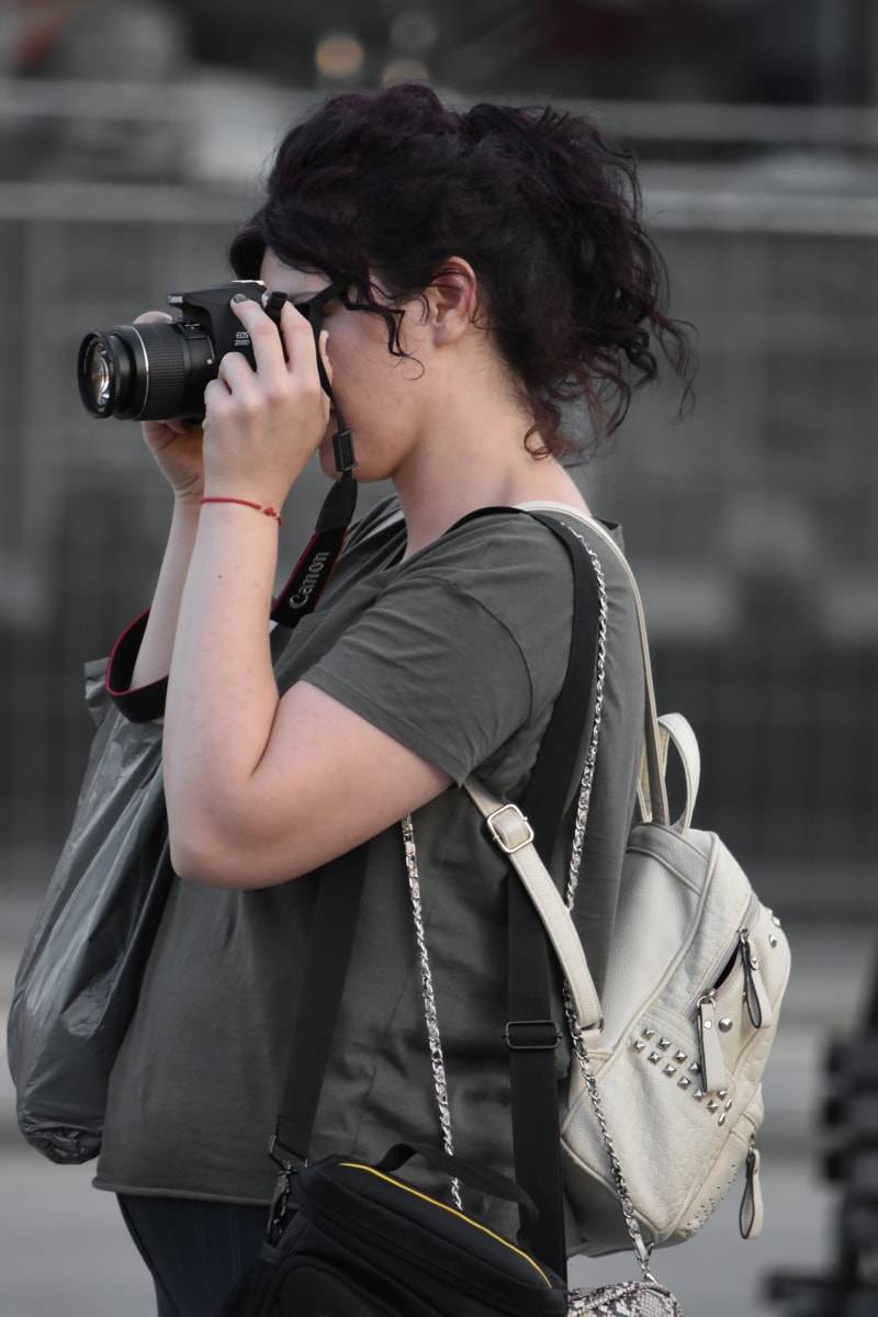 photographer, backpacker, backpack, camera, woman, portrait, lens, fashion, street, girl