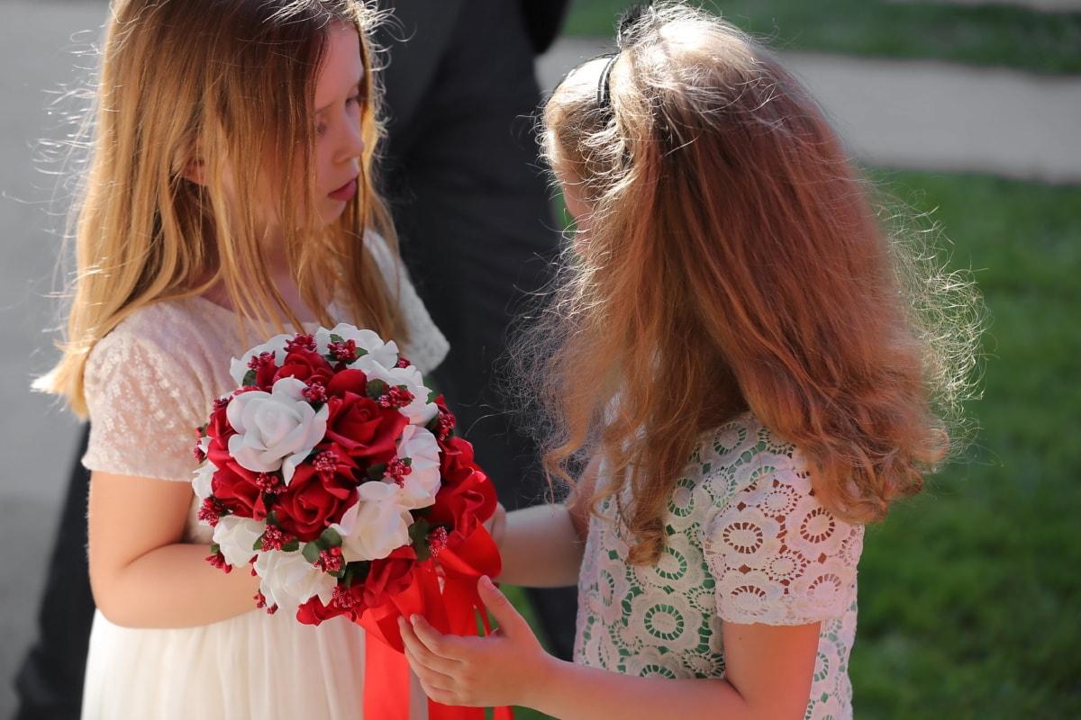 girls, girlfriend, blonde hair, wedding bouquet, outdoors, child, cute, fashion, fun, pretty