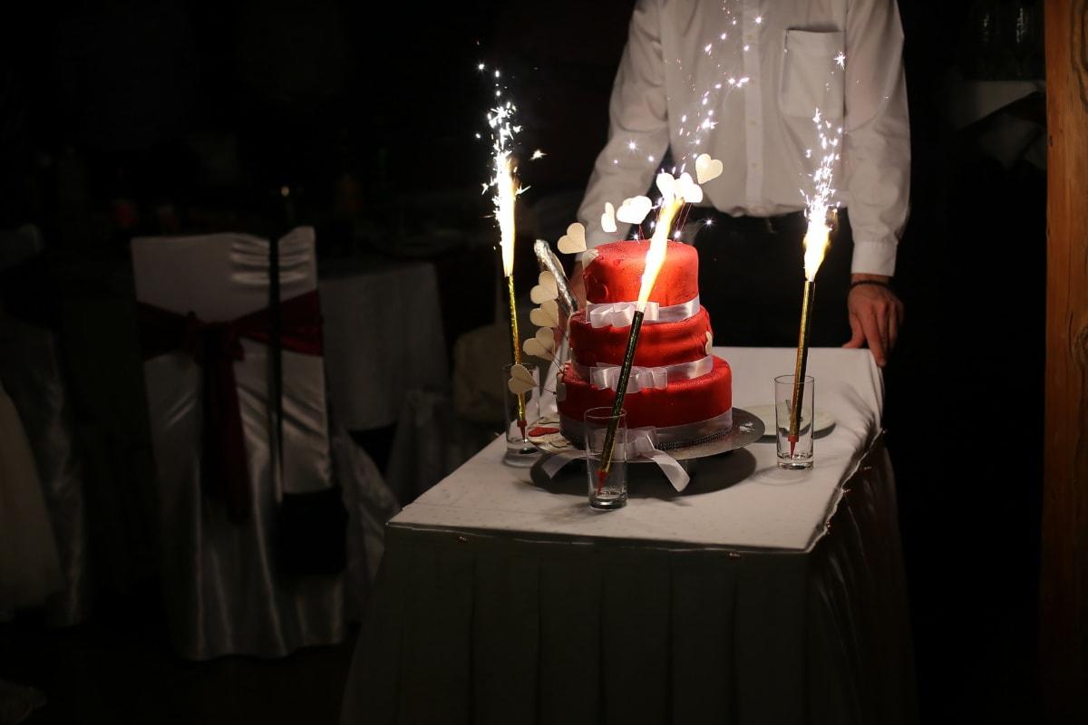 Barmann, Liebe, Valentinstag, Kuchen, Funke, dekorative, Überraschung, Stuhl, Stühle, Restaurant