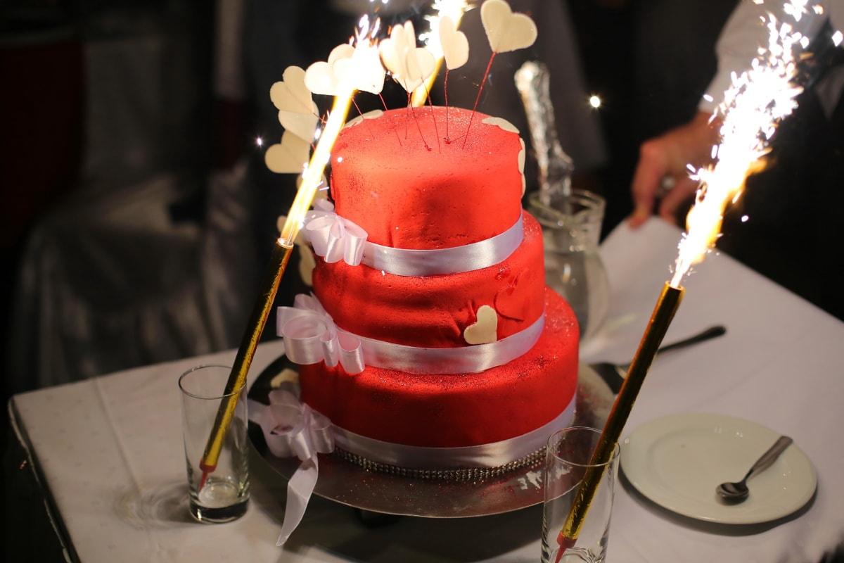 wedding cake, spark, wedding, flame, food, light, dark, celebration, hot, indoors